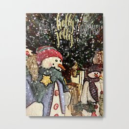 Holly Jolly Snowman Metal Print