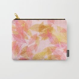 Autumn-world- gold leaves on pink Carry-All Pouch