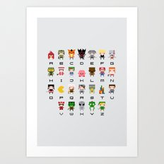 Video Games Pixel Alphabet Art Print