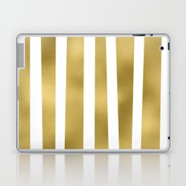 Gold unequal stripes on clear white - vertical pattern Laptop & iPad Skin