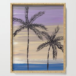two palm trees euphoric sky Serving Tray