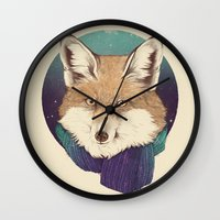 fox Wall Clocks featuring Fox by Laura Graves
