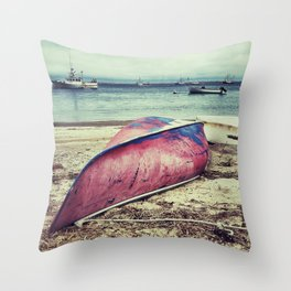 old red boat Throw Pillow