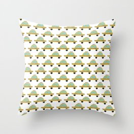 Hand Drawn Taxi Cab Pattern Throw Pillow