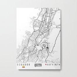 Quito, Ecuador Road Map Art - Earth Tones Metal Print