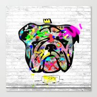 bulldog Canvas Prints featuring Bulldog by morganPASLIER