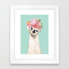 Llama with Flowers Crown #3 Framed Art Print