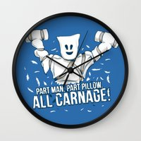 carnage Wall Clocks featuring All Carnage! by Locust Years