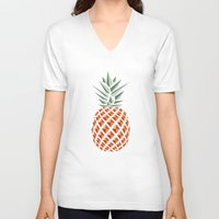pineapple V-neck T-shirts featuring Pineapple  by basilique