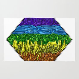 Geometric Rainbow Seven Chakras Rug