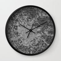 moscow Wall Clocks featuring Moscow by Upperleft Studios