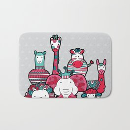 Doodle Animal Friends Pink & Grey Bath Mat