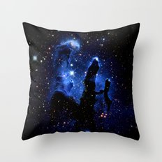 gaLAXY Blue Pillars of Creation Throw Pillow