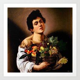 Michelangelo Merisi Da Caravaggio Boy With A Basket Of Fruit Art Print