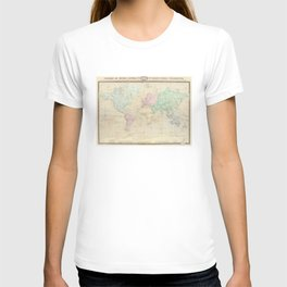 Vintage Map of The World (1862) T-shirt