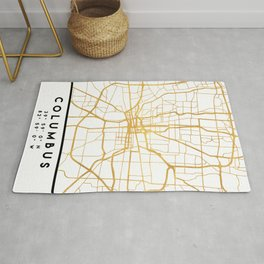 COLUMBUS OHIO CITY STREET MAP ART Rug