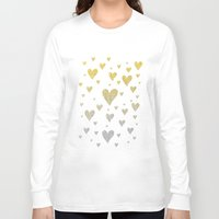 gold glitter Long Sleeve T-shirts featuring Glitter Hearts by Psychae
