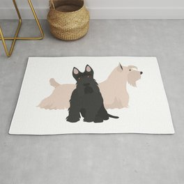 Scottish Terrier Black White Hunting Dog Rug
