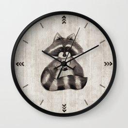 Little Raccoon, Baby Animals, Woodland, Children's Art, Nursery, Kid Decor Wall Clock