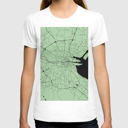 Dublin Ireland Green on Black Street Map T-shirt