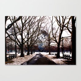 Winter Snow Surrounds the Unisphere, New York City Canvas Print