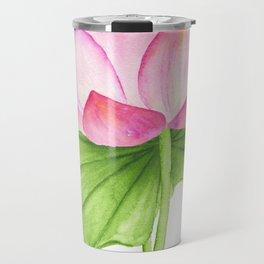 Lotus flower. Watercolor drawing Travel Mug