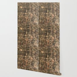 Textured Bronze Gold Metal Painting on Canvas Wallpaper