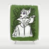 maleficent Shower Curtains featuring Maleficent by carotoki
