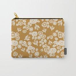 Bee Garden - linocut art, mustard, yellow, garden floral, home decor, bees, florals, flowers print Carry-All Pouch
