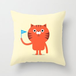Cat with flag illustration Throw Pillow