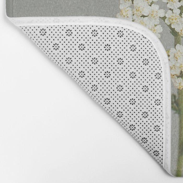 White Flowers Bath Mat