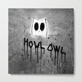 Howl Owl Black and White Graffiti Metal Print