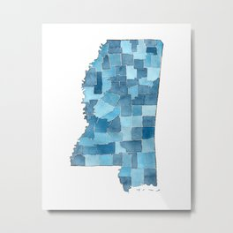 Mississippi Counties Blueprint watercolor map Metal Print