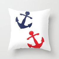 anchors Throw Pillows featuring Anchors by Indulge My Heart