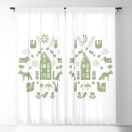 Folk Art Farm 3 // Folk Art Birds, Hand Drawn Leaves and Flowers// Green and white Blackout Curtain