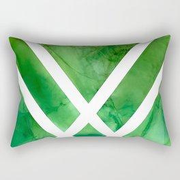 Green Ombre Geometric Watercolor Rectangular Pillow