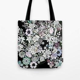 Colorful black detailed floral pattern Tote Bag