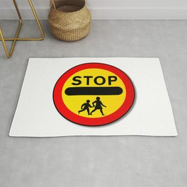 Stop Children Traffic Sign Rug