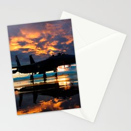 Fighter Jet Airplane at Sunset Military Gifts Stationery Cards