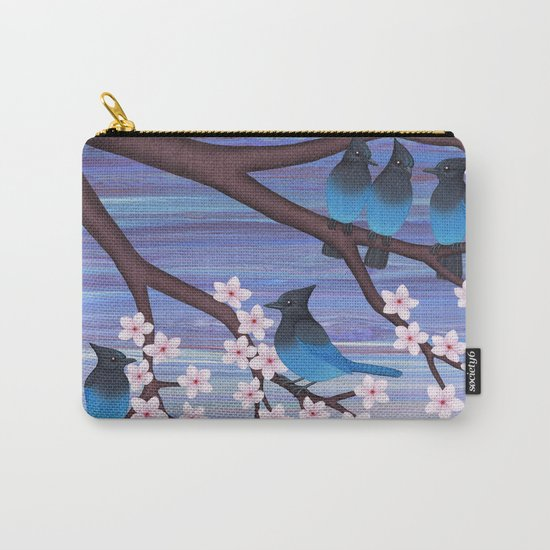 Steller's jays and cherry blossoms Carry-All Pouch
