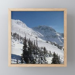Mountains color palette of white-black-blue Framed Mini Art Print