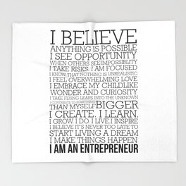 Entrepreneur Manifesto Throw Blanket