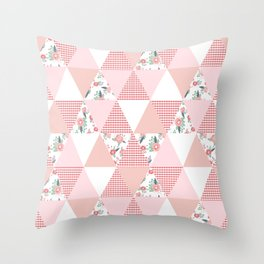 Quilt quilter cheater quilt pattern florals pink and white minimal modern nursery art Throw Pillow