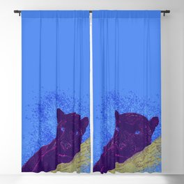 Purple panther on a branch - Blue Blackout Curtain