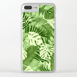 Green Tropical Leaves Pattern Clear iPhone Case