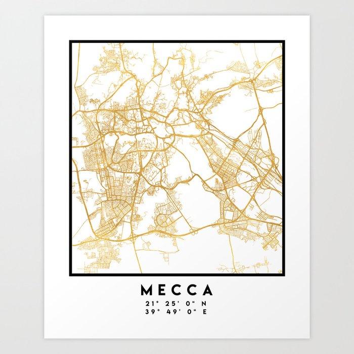MECCA SAUDI ARABIA CITY STREET MAP ART Kunstdrucke