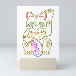 Maneki-Neko Neon – Good Luck Mini Art Print