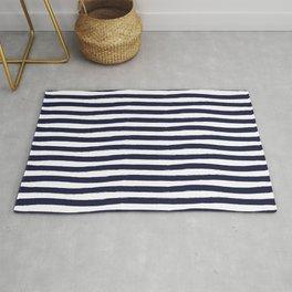 Navy Blue and White Horizontal Stripes Rug