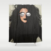 hair Shower Curtains featuring Hair by Vin Zzep