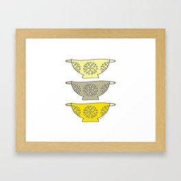 Yellow Kitchen Colander Framed Art Print